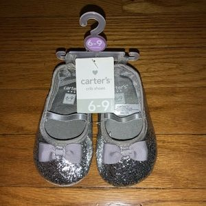 SILVER BABY GIRL GLITTER AND BOW BALLERINA SHOES